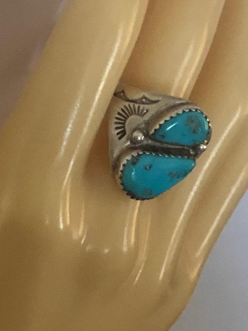 Riesige Vintage Zuni Indianerschmuck Navajo Tanzend Kachina Türkis Silber Blatt Armband Kaufe Jetzt Folkloreschmuck