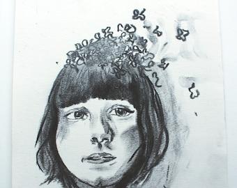 Artist Charcoal Drawing - Original portrait, artwork.