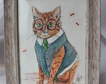 Dr Cat Original, Framed, Drawing.
