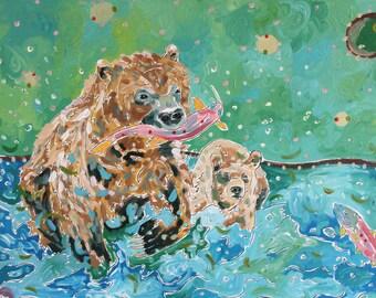 Salmon Fishing - Acrylic Painting