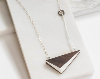 """White Walnut Triangle Necklace // Geometric Wooden Pendent with Contrast Faceted Edges and Solid Silver - asymmetrical minimal LONG 24"""""""