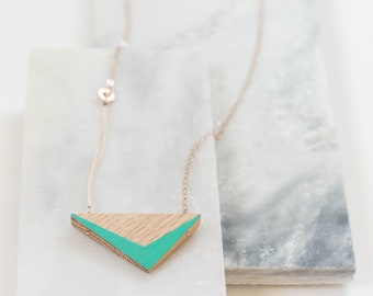 """Aqua Wooden Triangle Necklace // Geometric Oak Design with Faceted Edges of Ocean Blue + Rose Gold - asymmetrical minimal LONG 24"""""""