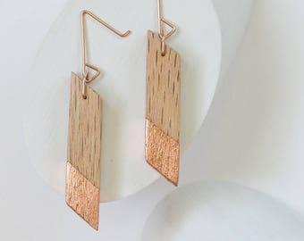 Gilded Oak Angle Earrings // Lightweight Wood + Copper Leaf Accents, Rose Gold Geometric Drop Dangle