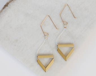 Pipe Earrings // Geometric Triangle Industrial Earrings with Brass Tube, Cording and Gold - minimal, metallic, industrial, modern