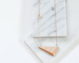 """Gilded Triangle Necklace // Oak Wood and Copper Geometric Necklace with Magnetic Clasp - asymmetrical minimal SHORT 19.5"""""""