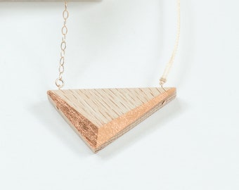 """Gilded Triangle Necklace // Oak Wood and Copper Geometric Necklace - asymmetrical minimal LONG 24"""""""