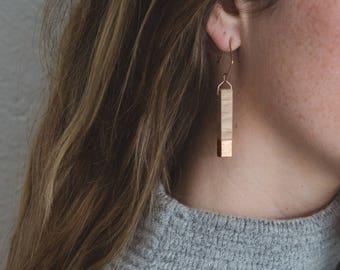 Gilded Oak Bar Earrings // Lightweight Wood + Copper Leaf Accents, Rose Gold Geometric Drop Dangle