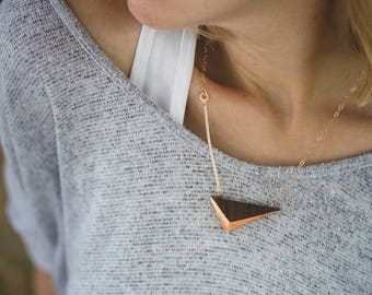 """Gilded Triangle Necklace // Walnut Wood and Copper Geometric Necklace - asymmetrical minimal SHORT 19.5"""""""