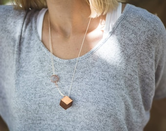Gilded Geometric Cube Necklace // Mahogany Wood with Copper Leaf, Soft Cord and Copper - 100% Hand-Crafted