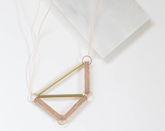 Pipe + Frame // Geometric Oak Wood and Brass Necklace - architectural, minimal, structural, industrial, modern design
