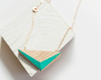 """Aqua Wooden Triangle Necklace // Geometric Oak Design with Faceted Edges of Ocean Blue + Rose Gold - asymmetrical minimal SHORT 19.5"""""""