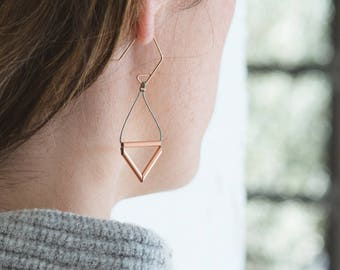 Pipe Earrings // Geometric Triangle Industrial Earrings with Copper Tube, Cording and Rose Gold - minimal, metallic, industrial, modern