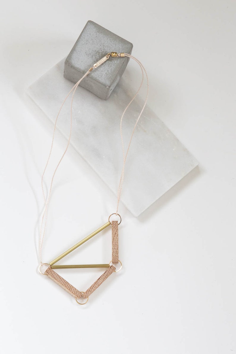 Pipe  Frame // Geometric Oak Wood and Brass Necklace  image 0
