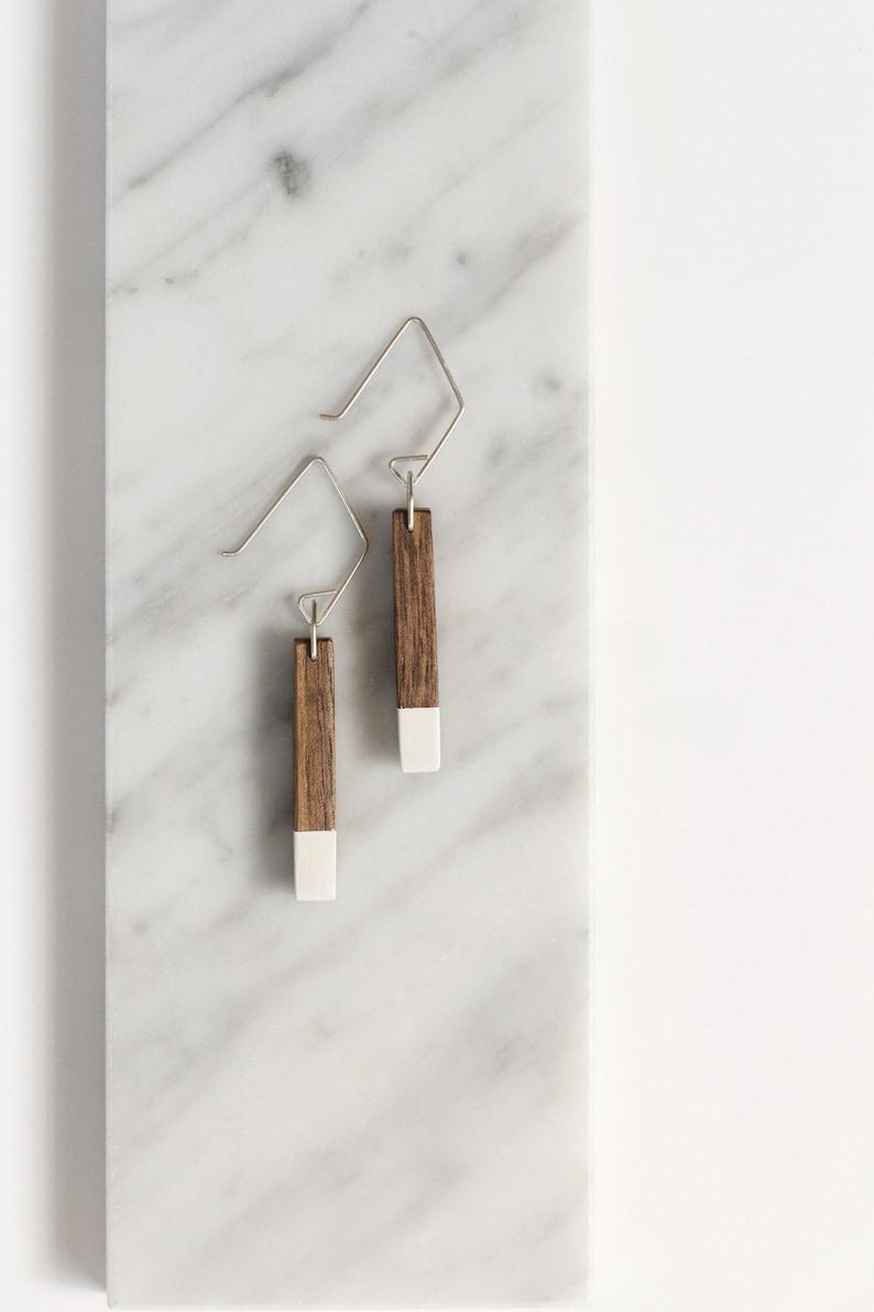 White Wooden Bar Earring // Walnut Wood  White Tipped image 0