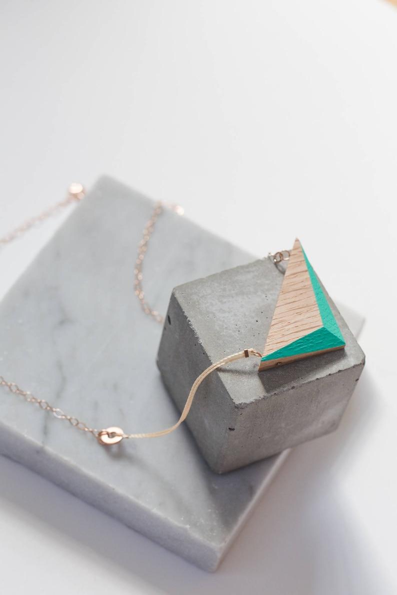 Aqua Wooden Triangle Necklace // Geometric Oak Design with image 0