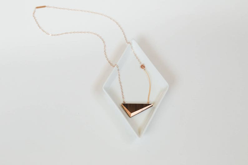 Gilded Triangle Necklace // Walnut Wood and Copper Geometric image 0