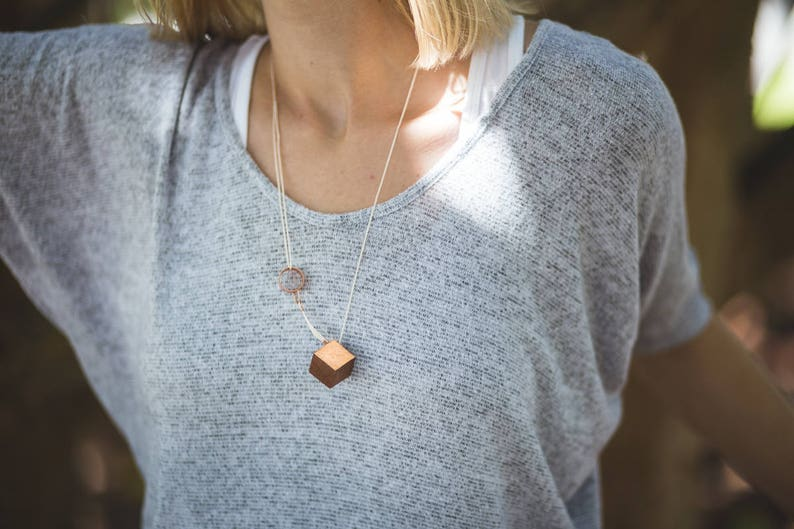 Gilded Geometric Cube Necklace // Mahogany Wood with Copper image 0