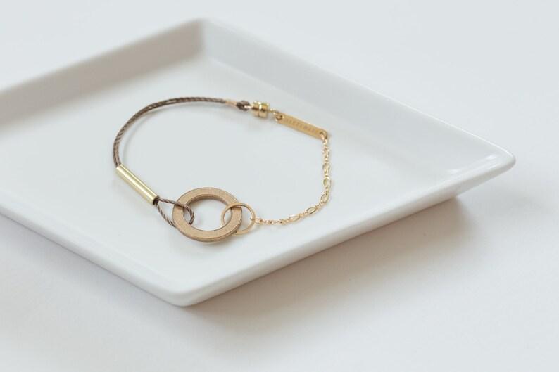 Bronze Loop Bracelet // Minimal Industrial Brass Circle image 0