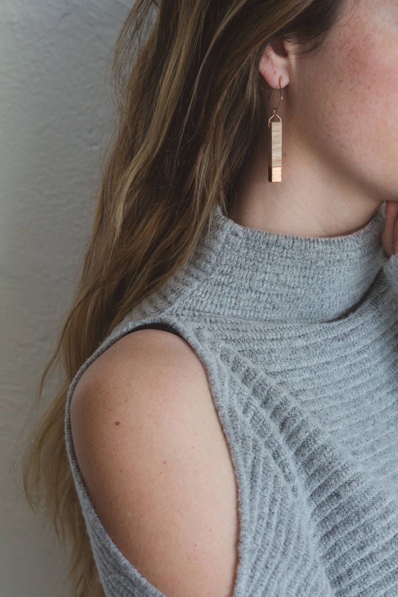 Gilded Oak Bar Earrings // Lightweight Wood  Copper Leaf image 0