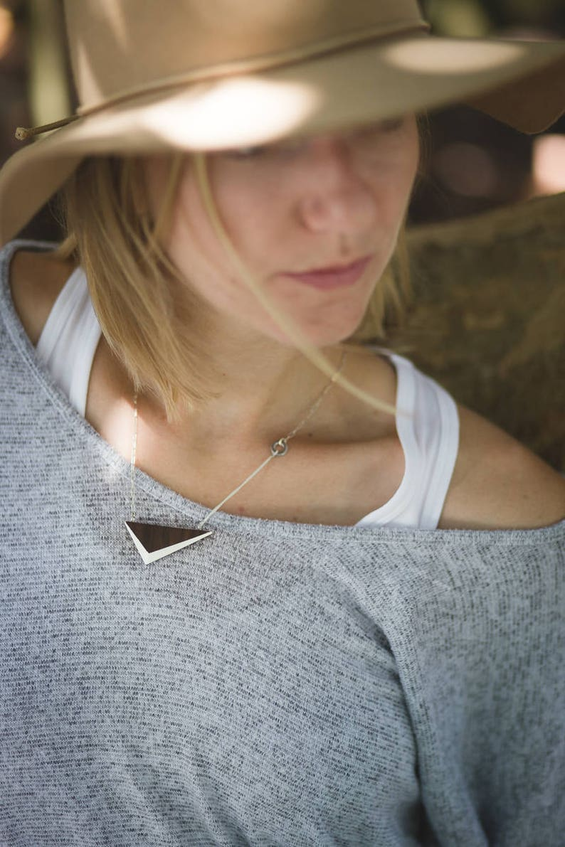 White Walnut Triangle Necklace // Geometric Wooden Pendent image 0