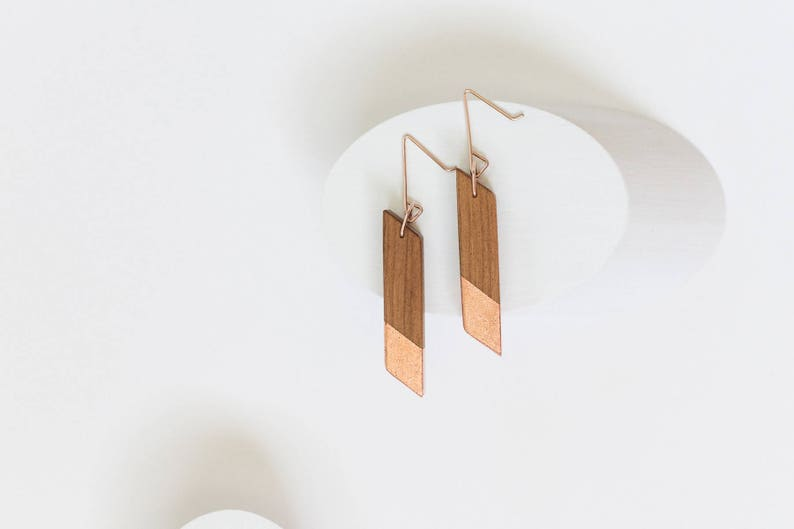 Gilded Mahogany Angle Earrings // Lightweight Wood  Copper image 0