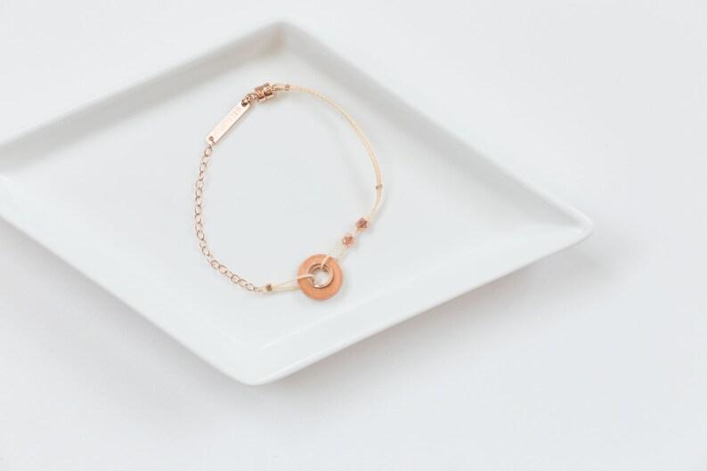 Copper Loop Bracelet // Minimal Industrial Copper Circle image 0