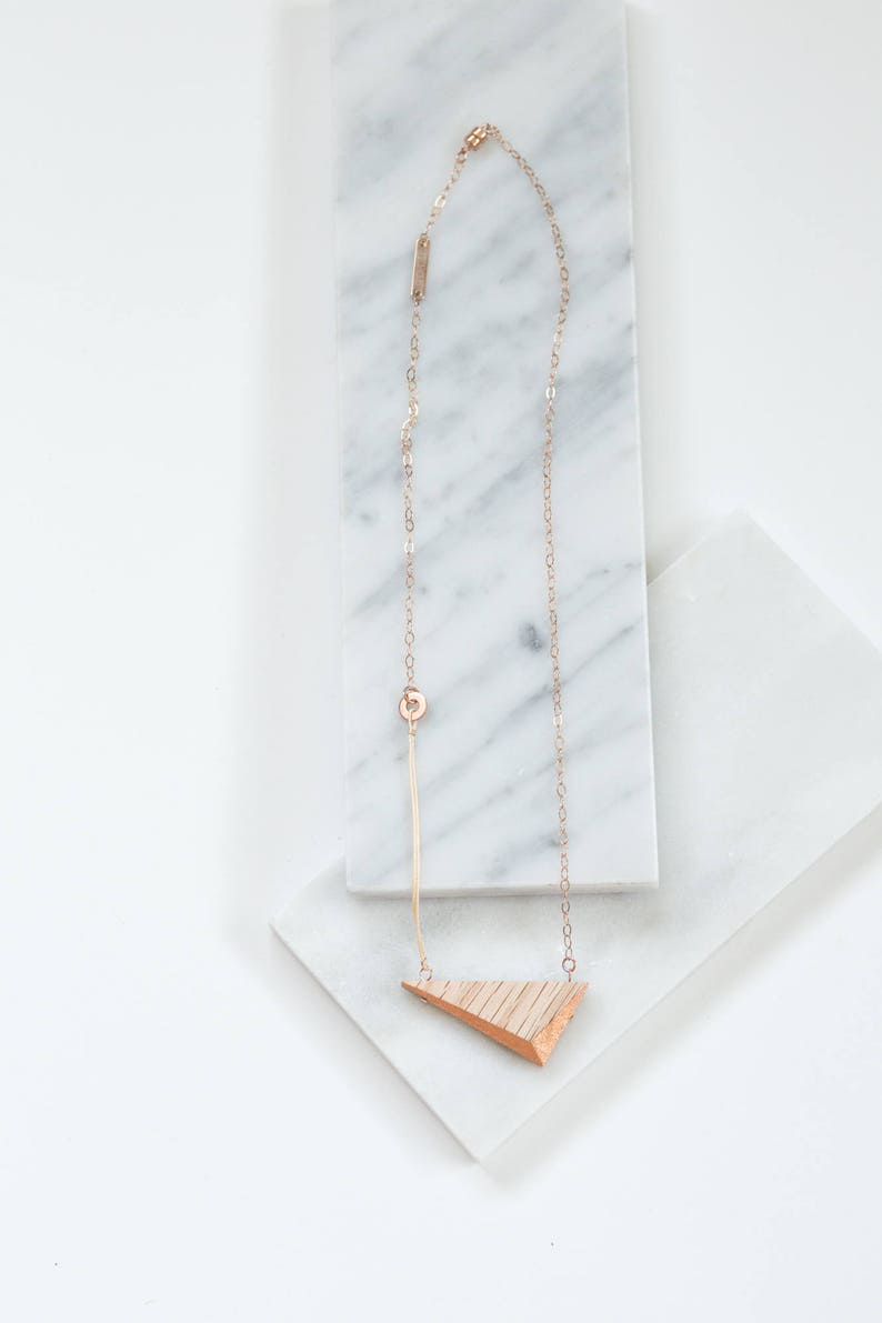 Gilded Triangle Necklace // Oak Wood and Copper Geometric image 0