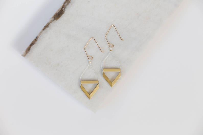 Pipe Earrings // Geometric Triangle Industrial Earrings with image 0