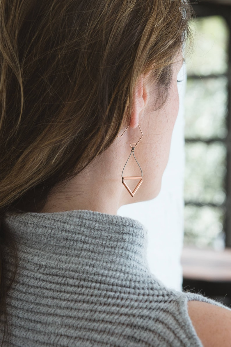 Pipe Earrings // Geometric Triangle Industrial Earrings with image 0