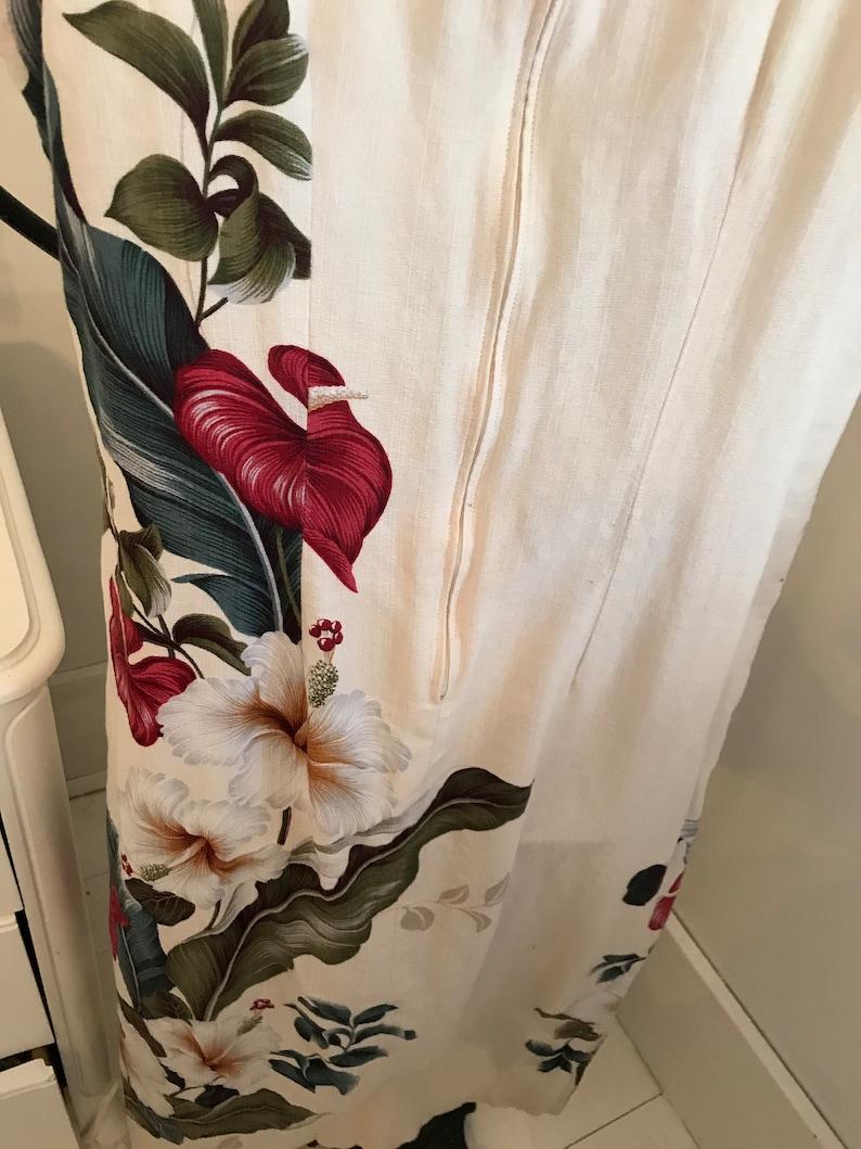 very cool design ~ zipper back ~ vintage print ~ aloha ~ side slits ~ comfy /& casual ~ themed party dress Vintage OLANI Hawaiian Dress