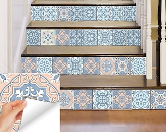 Turchese blu stickers set di 24 piastrelle adesivi per etsy