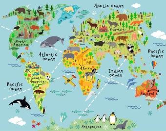 Huge Map Of The World.Huge World Map Etsy