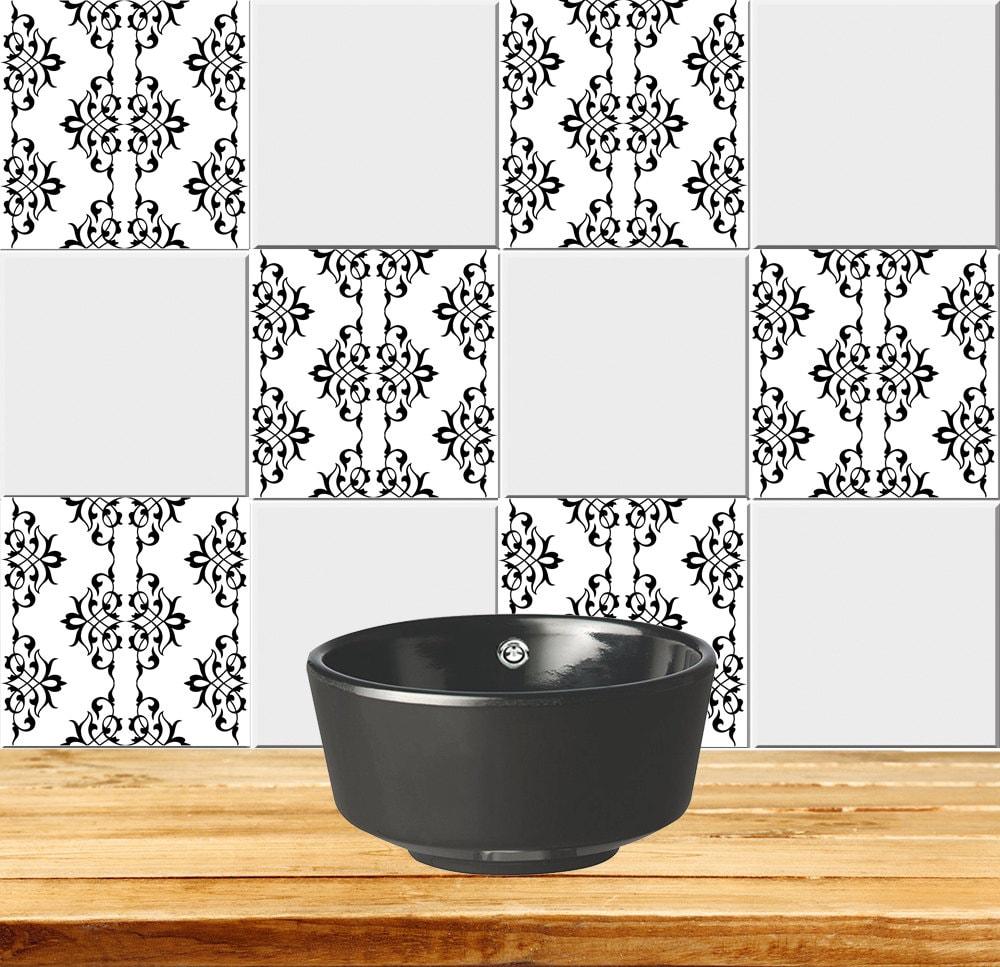 Tiles Decals Set of 20 Black & white home design decoration | Etsy