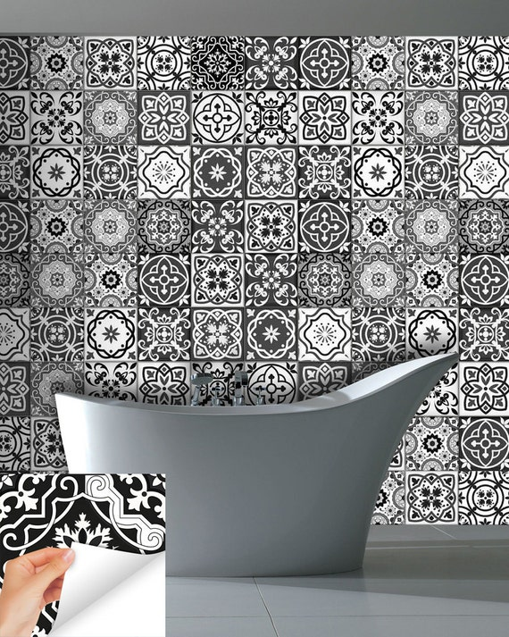 Decals Bathroom Gray Tile Set Of 24 Tiles Decals Tiles Stickers Tiles For  Walls Kitchen Decals Bathroom Decals Wall Decals Sb15 From AlegriaM On Etsy  Studio