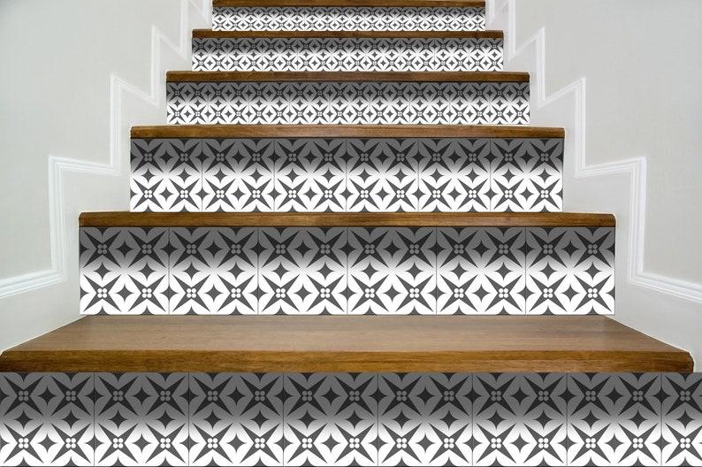Stairs design modern peel and stick backsplas stickers 24 Tiles Decals Tiles Stickers Tiles for walls Kitchen Bathroom fliesenaufkleber B42