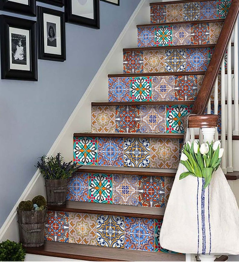 Home Decor Ideas Talavera Bathroom Tile Sticker Set Of 24 Etsy