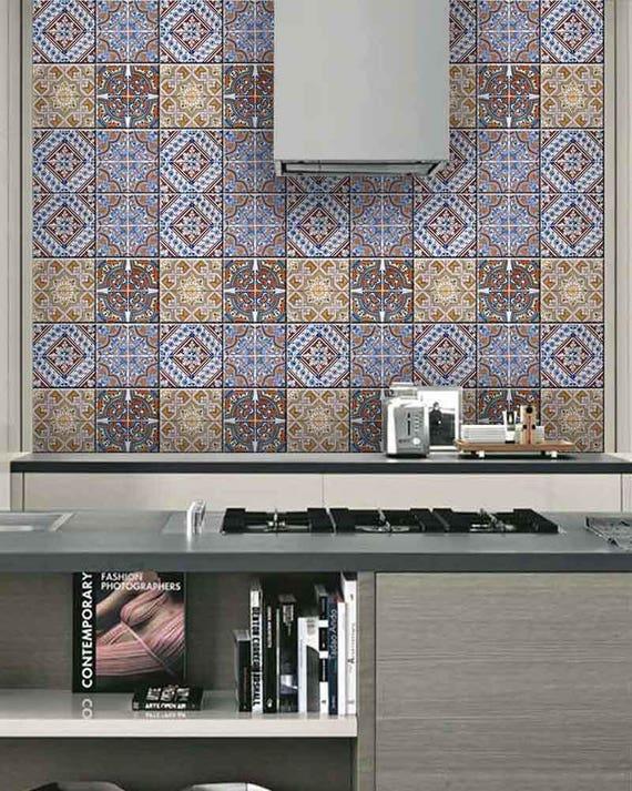 New Home Decor Ideas Talavera Bathroom Tile Sticker Set Of 24 Etsy