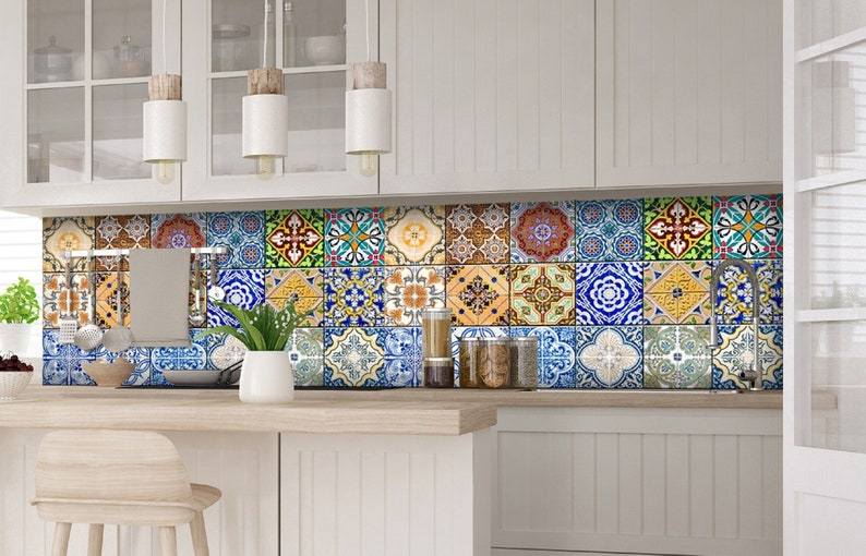 Tile stickers wall decal spenish style adesivi per piastrelle etsy