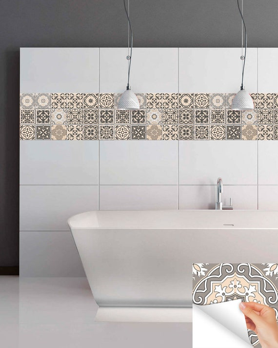 Carrelage Stickers Ideas Bathroom Tile Sticker Set Of 24 Tiles Decal Mixed Tiles For Walls Kitchen Decals Carrelage Stickers Sb20