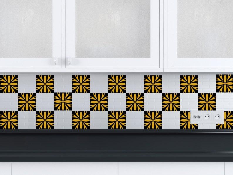 Zwart wit tegel stickers badkamer stickers mexicaanse tile set etsy