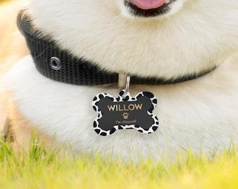Doggy Bone ID Tag, Personalised Dog Tag For Collar, Dalmatian Print Dog Tag