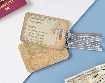 Vintage Style Luggage Tags - Personalised Vintage Map Luggage Tags - Personalised Luggage Tags - Destination Wedding Luggage Tags