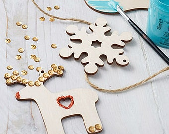 Set Of Paint Your Own Decorations - Wooden Christmas Ornaments - Reindeer/Dove/Snowflake