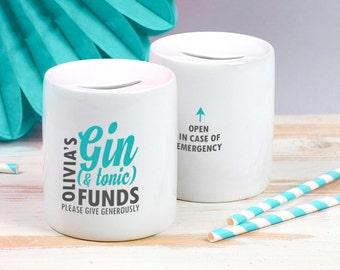 Gin Money Box - Funny Gin Gift - Funny Gin & Tonic Money Box - Personalised Gin Gift