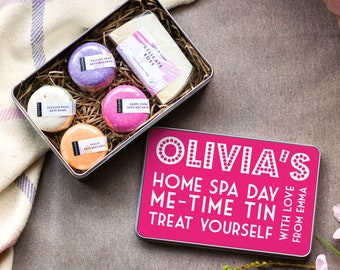Personalised Macaron Bath Bomb Home Spa Kit, Pamper Gift Set for Her