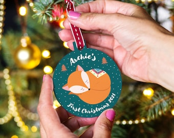 First Christmas Woodland Animal Bauble, Baby's First Christmas Ornament, New baby Christmas Keepsake, Personalised Bauble