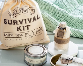 Mum's Survival Kit Gift Set - Personalised Self Care Kit - Relaxation Bath And Beauty Gift For Mum - Spa in a Bag