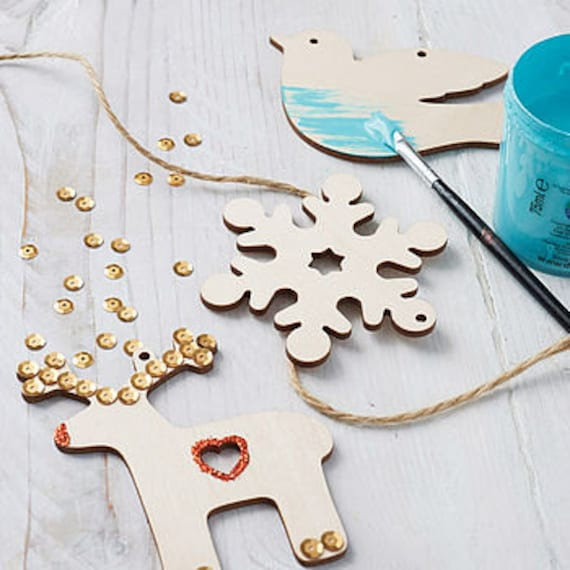 Set Of Paint Your Own Decorations Wooden Christmas Ornaments Etsy