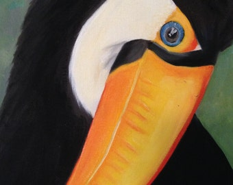 Toucan Bird, Original 8x10 Oil Painting on Canvas