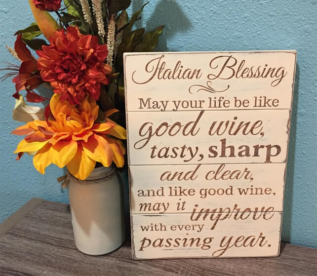 Italian blessing wood sign Wine Kitchen Decor Personalized | Etsy